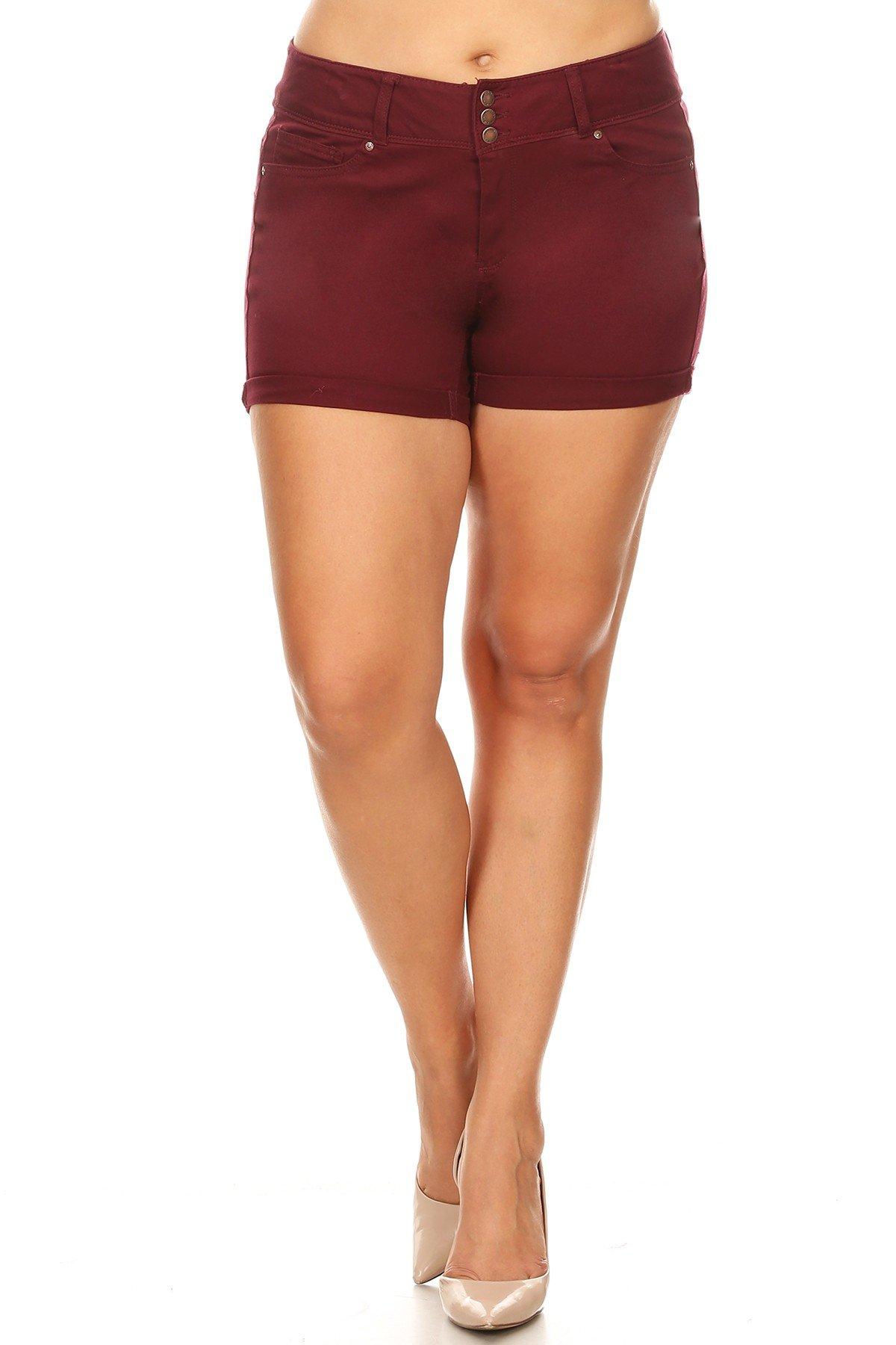 Ambiance Apparel Women's Plus Size Colored Denim Shorts (1X, Burgundy)