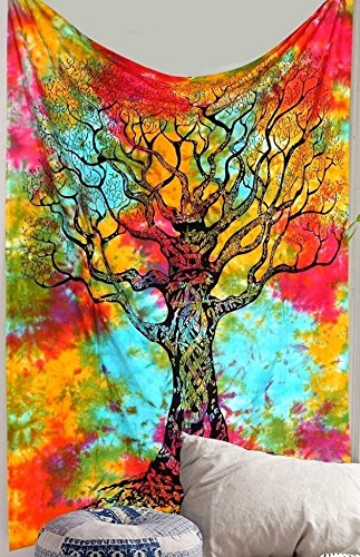 Rainbow Tye dye Tree tapestry colorful tapestry Tree of life tapestry wall hanging Hippie Tapestries Dorm Decor indian Bohemian Bedspread tapestries Bedding Bed cover by Jaipur Handloom