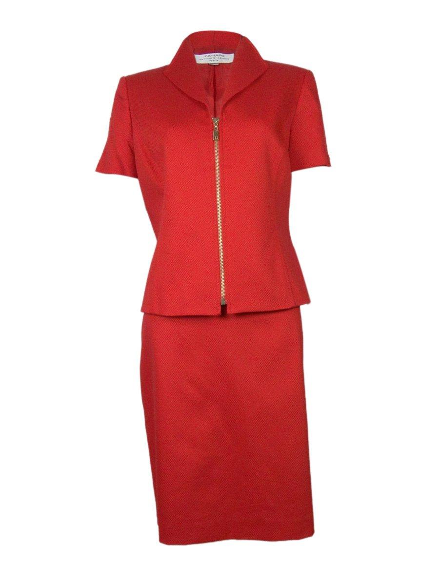 Women's Cotton Blend Short Sleeve Zip Front Petite Jacket Skirt Suit Set, Red (6P Petite)
