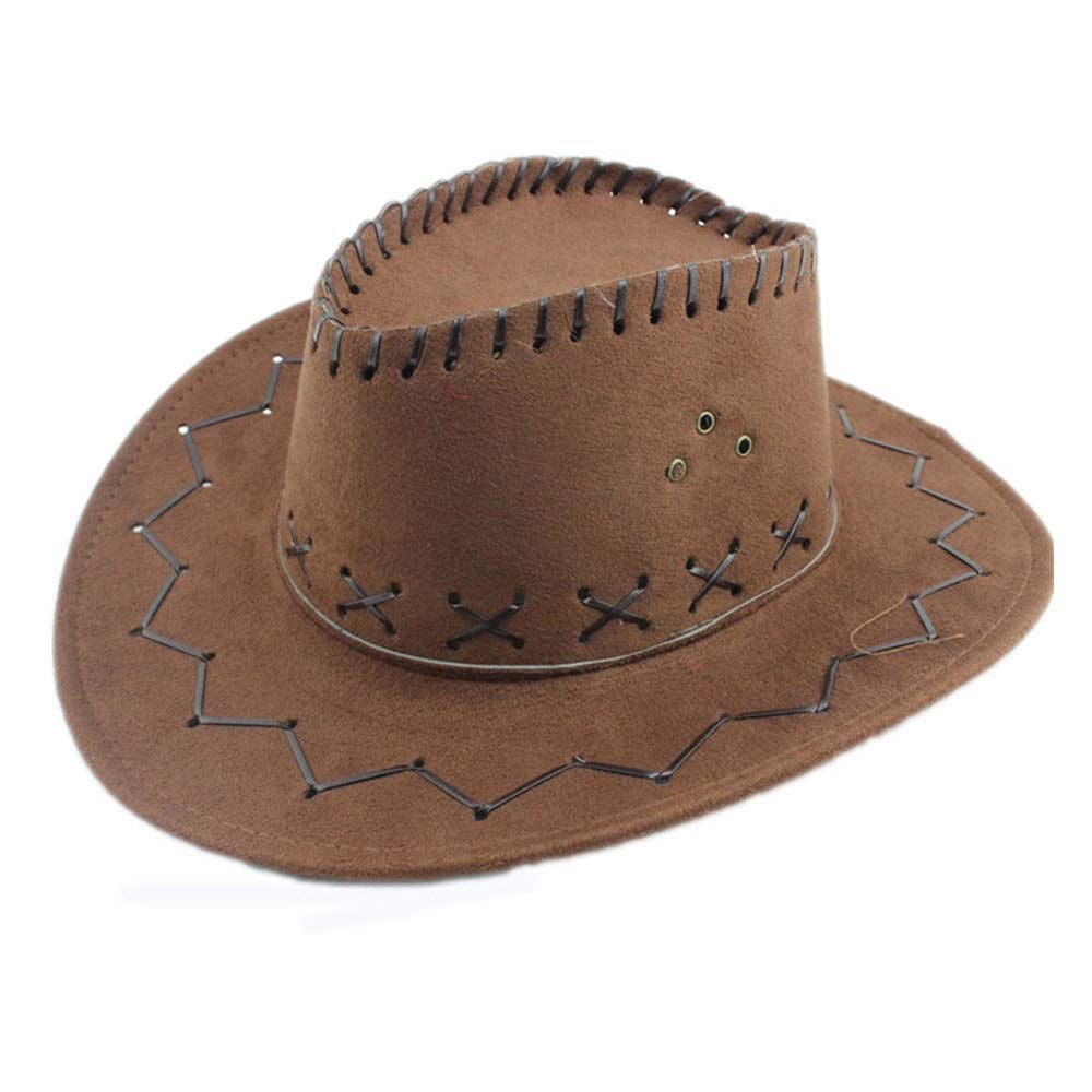 Color : Coffee, Size : 56-58CM ANNFENG Classic Cattleman Unisex Jazz Cow Knight Suede Cowboy Fedora Hat for Men//Women Travel Summer Wide Brim UV Protection Sun Hat