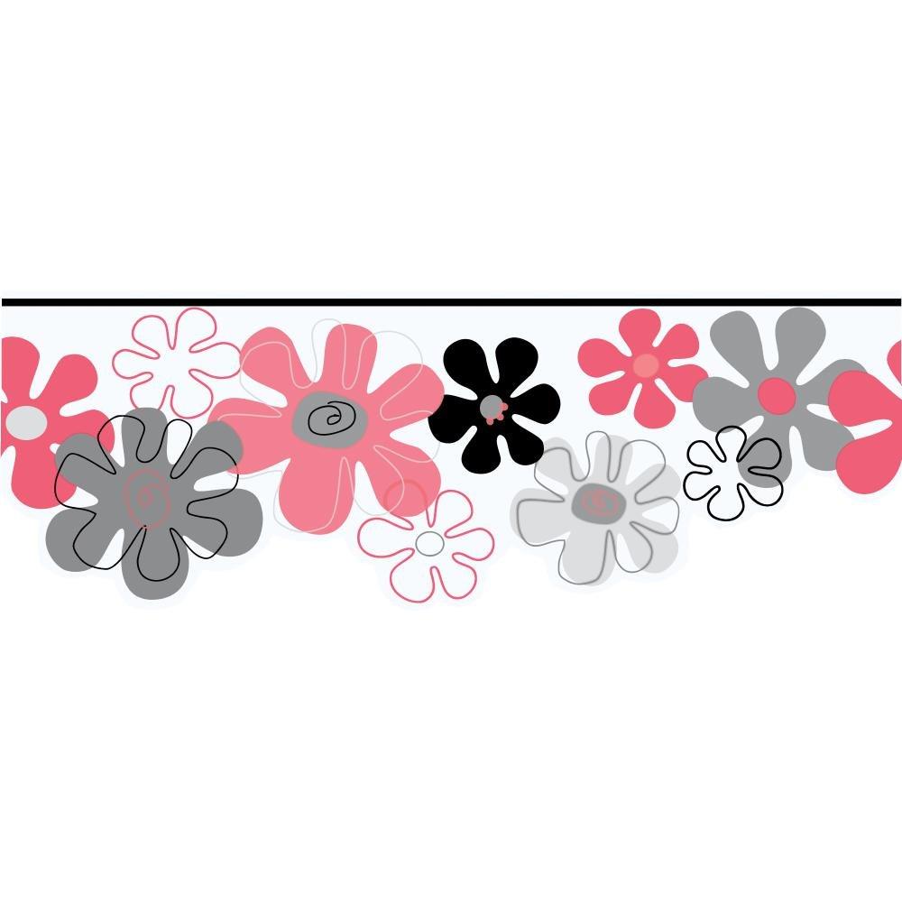 York Wallcoverings YK0147BSMP York Kids IV Flower Power 8-Inch x 10-Inch Memo Sample Wallpaper-Borders, Pink/Silver