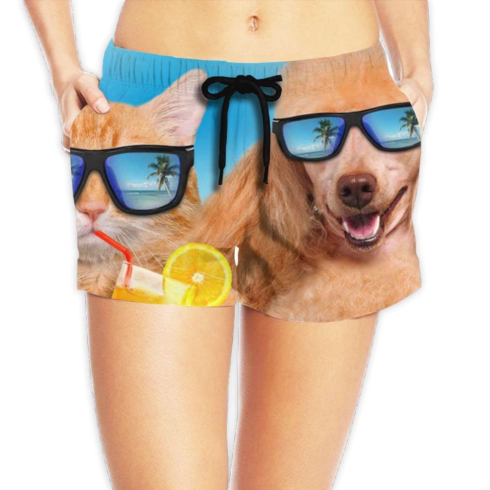 Cat Wearing Sunglasses Relaxing Sitting On Beach Women's Portable Shorts Swim Trunks Beach Boardshorts Swimwear with Pockets S-XXL
