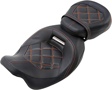 XMT-MOTO Low Profile Pillion Passenger Rider Seat fits for Harley Davidson Touring Road King Ultra CVO Limited Street Glide Road Glide models 2009-2020