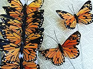 """12pc Classic Monarch Butterfly With Wire 2.75"""" Floral Arrangement US Seller"""