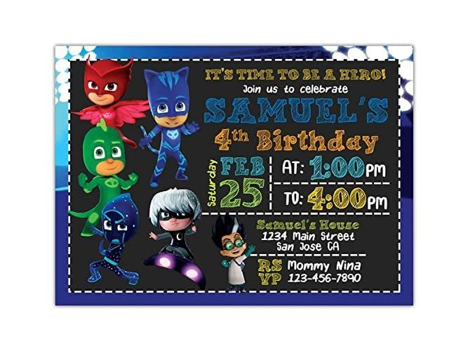 Image Unavailable Not Available For Color PJ Masks Birthday Party Invitations