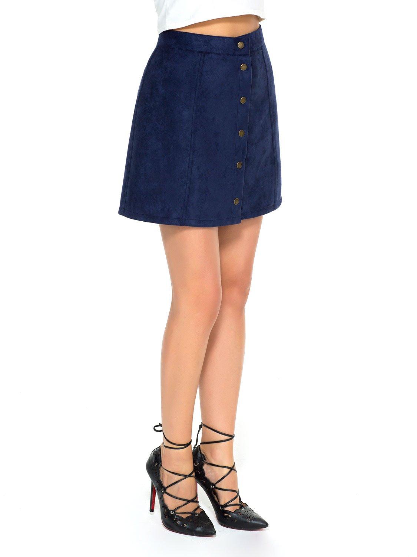 Choies Women's Navy Velvet Button Front A-Line Short Skirt XS