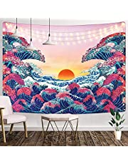 "Grey and Teal Mandala Tapestry, 51.2"" × 59.1"", Mandala Bohemian Wall Hanging Flower Hippie Tapestries Dorm Decor for Living Room Bedroom"