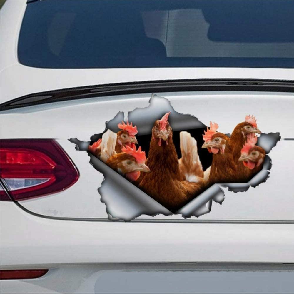 DONL9BAUER Brown Chickens Car Stickers Vinyl Auto Scratch Cover 3D Sticker Car Decal for Laptop Travel Case Tumbler Door Window Bumper Luggage Idea