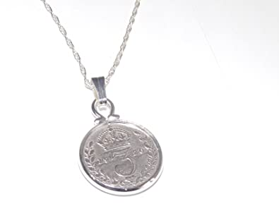 Fine Pendant 1928 Lucky sixpence 90th Birthday plus a Sterling Silver 18in Chain sY7BeFyjoz