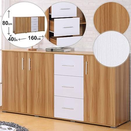 MIADOMODO Cómoda con 3 Cajones y 3 Puertas - 160/80/40 cm, Roble y Blanco - Cajonera, Armario, Sala de Estar, Dormitorio, Entrada, Mueble ...