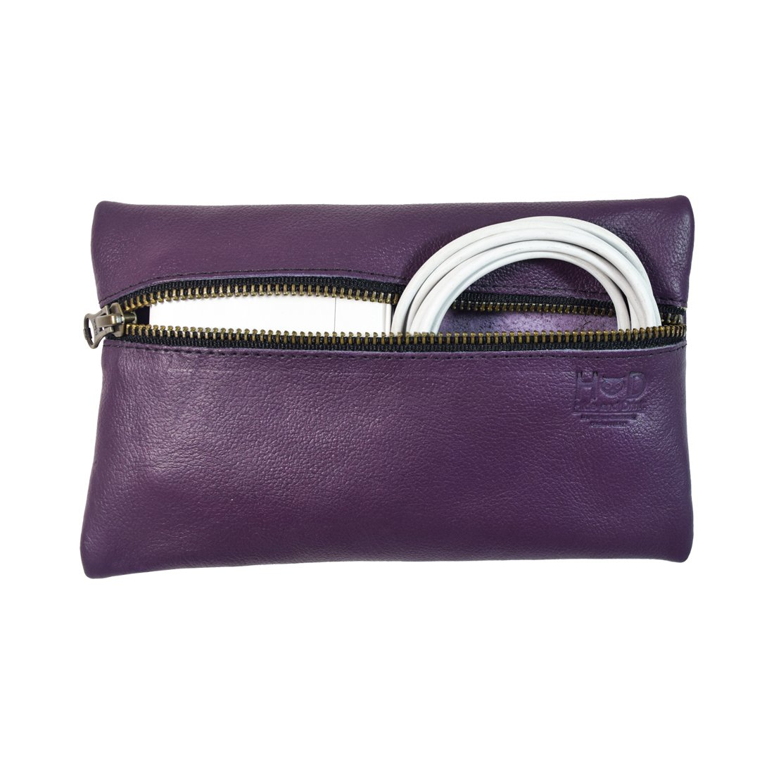 Leather All Purpose Utility & Charger Case for MacBook, iPad & Laptop Handmade by Hide & Drink :: Purple