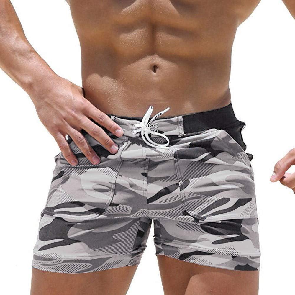 MIARHB Mens Camo Print Cargo Shorts for Swim Running Surfing Sports Beach Wear