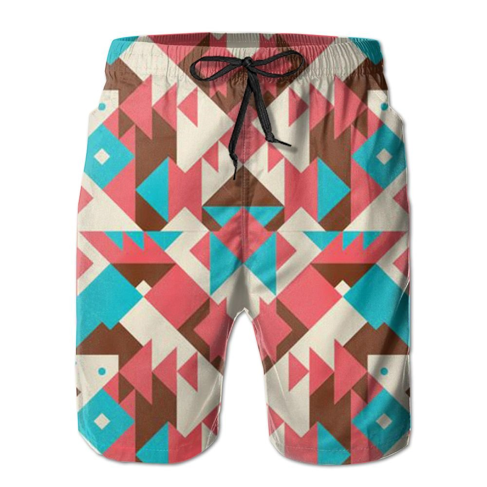 JDHFAF Abstract Pattern Mens Beach Board Shorts Quick Dry Summer Casual Swimming Soft Fabric with Pocket
