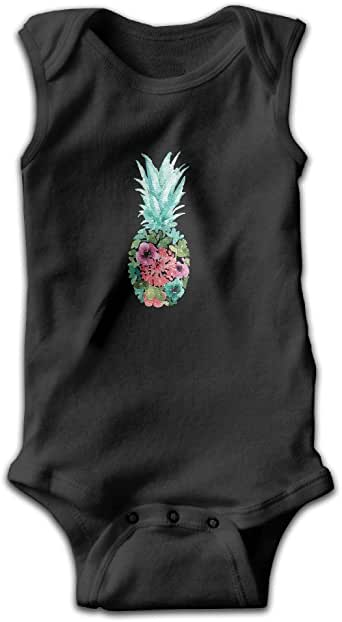 Nbabe Watercolor Floral Pineapple Sleeveless Bodysuit Boy's Girl's Romper Jumpsuit