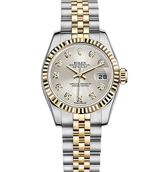 Rolex Datejust Lady 26 mm acero inoxidable y amarillo dorado reloj con dial de plata diamante caja/documentos unworn 178274: ROLEX: Amazon.es: Relojes