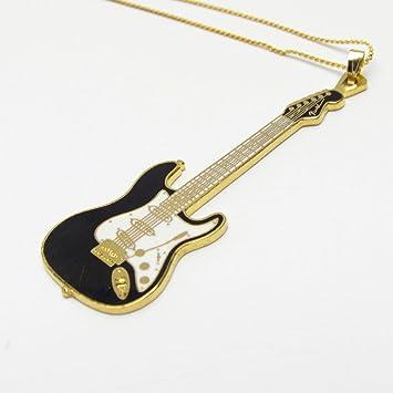 Armonía negro Fender Stratocaster Guitarra eléctrica – 24 K chapado en oro collar