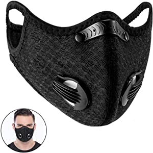 Sports Mask, Dustproof Mask Activated Carbon Filtration Exhaust Gas Anti Pollen Allergy PM2.5 Workout Running Motorcycle Cycling Mask (Black)