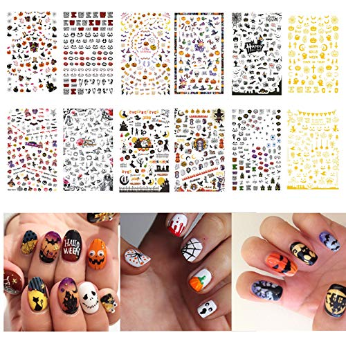 Awesome Halloween Nail Designs (TailaiMei 1500 Pcs Halloween Nail Decals Stickers, 12 Sheets Self-adhesive DIY Nail Art Tips Stencil for Halloween Party, Include Pumpkin/Bat/Ghost/Witch)