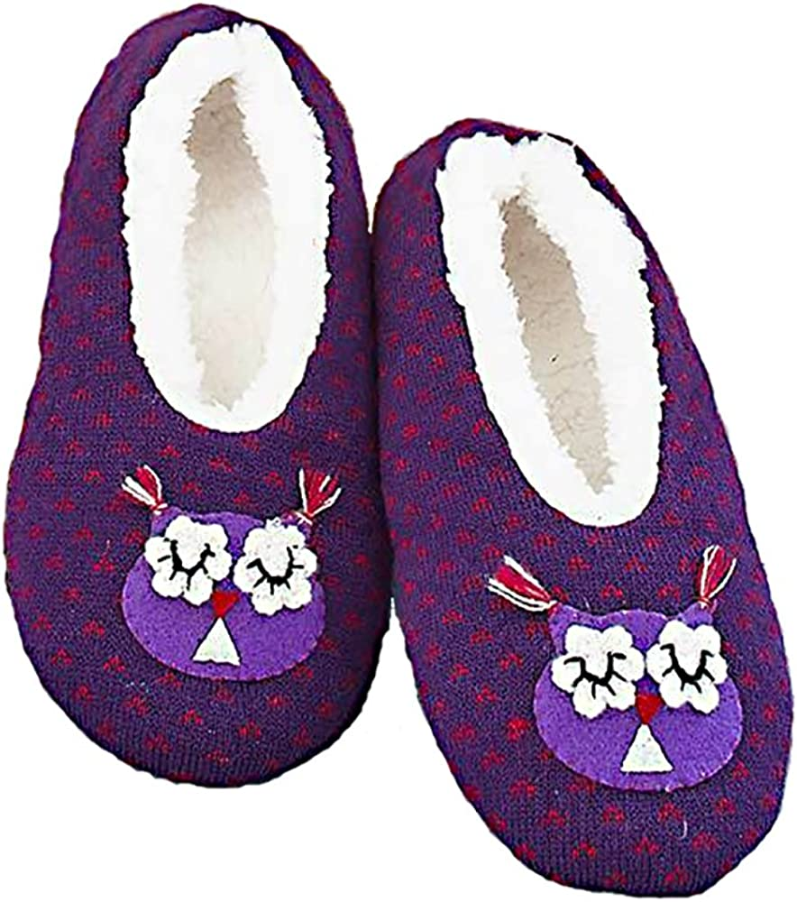 Purple Owl Womens Non-Slip Slippers with Sherpa Lining