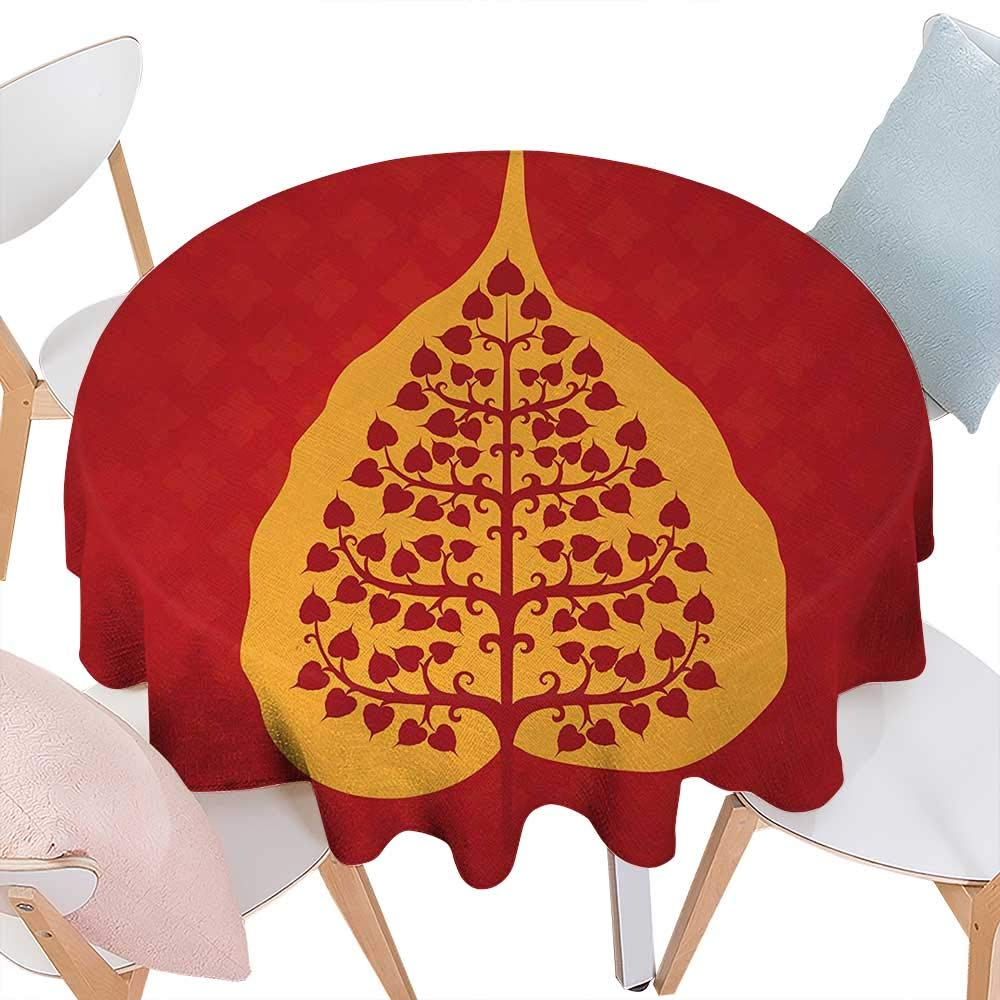 Amazon.com: cobeDecor Leaf Printed Round Tablecloth Artistic ...