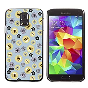 Soft Silicone Rubber Case Hard Cover Protective Accessory Compatible with SAMSUNG GALAXY? S5 - bee flowers pattern yellow
