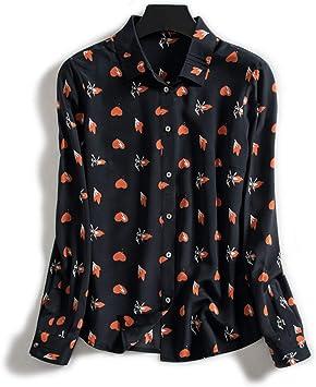 XCXDX Camisa De Manga Larga con Solapa Estampada, Top con Estampado En Forma De Corazón Y Blusa Ligera De Seda para Mujer: Amazon.es: Deportes y aire libre