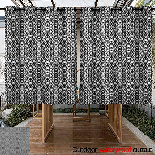 AndyTours Outdoor Blackout Curtain,Geometric,Greyscale Circular Honeycomb Pattern and Triangles Abstract Modern Art,for Patio/Front Porch,K140C100 Grey Black ()