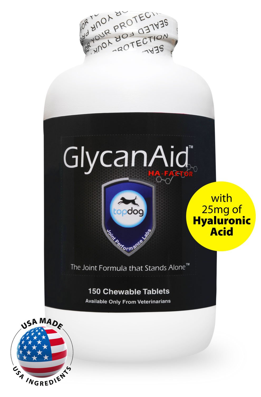 TopDog Health - GlycanAid-HA Advanced Joint Supplement for Dogs (150 Chewable Tablets) - Made in USA with USA Ingredients - Contains Glucosamine HCL, Chondroitin Sulfate, Hyaluronic Acid, MSM, Cetyl-M by TopDog Health