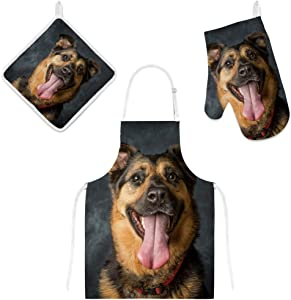My Daily Kitchen Apron with Pockets, Oven Mitt and Pot Holder Set, German Shepard Dog Adjustable Cooking Apron, Microwave Glove, Potholder, 3 Piece