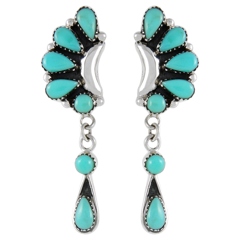 Turquoise Earrings 925 Sterling Silver & Genuine Turquoise (Blossom Drops)