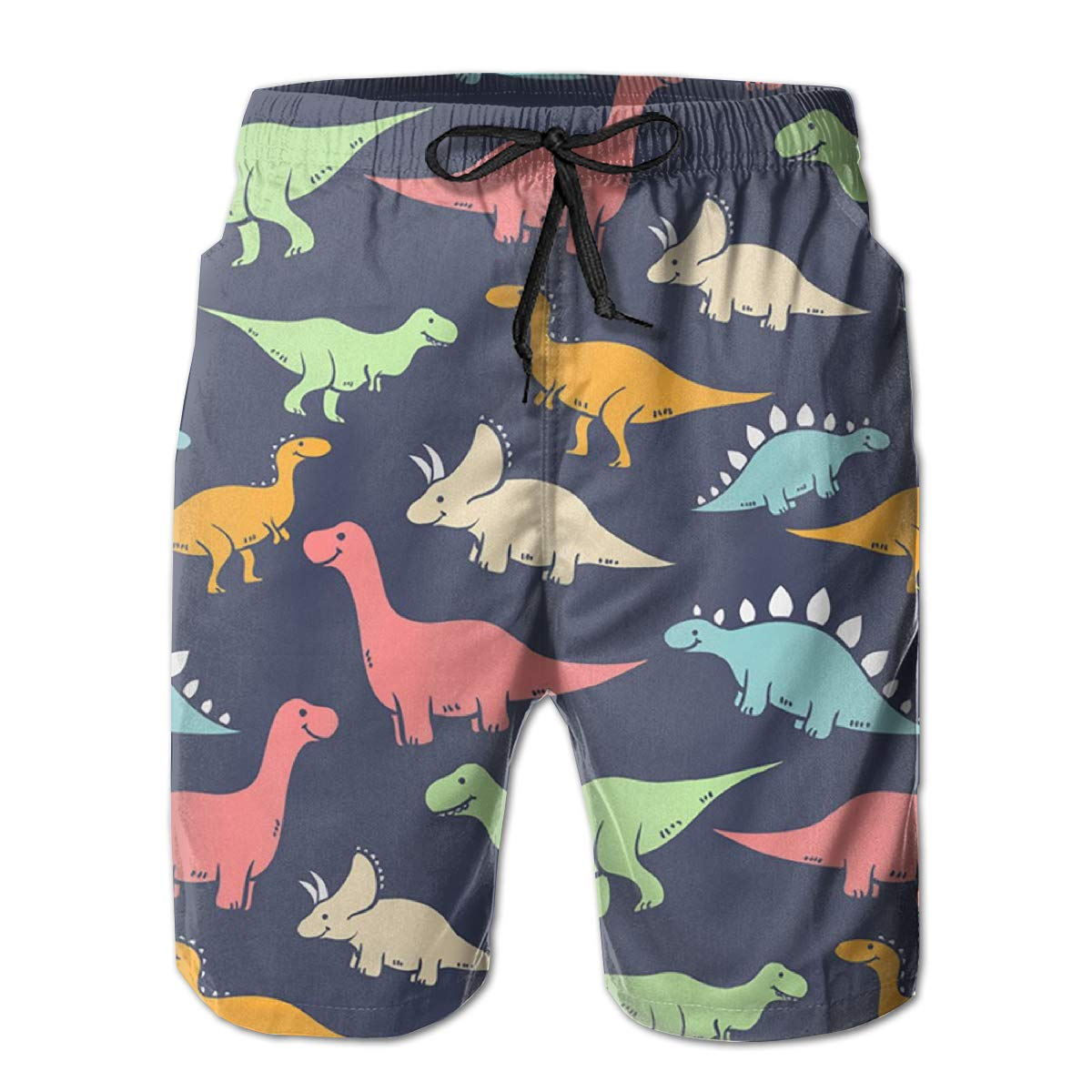 Simple Dinos Silhouettes Mens Board Shorts Swim Mesh Lining and Side Pocket