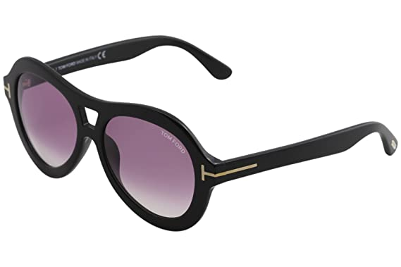 3c2b4db99e7 Image Unavailable. Image not available for. Color  Tom Ford FT0514 01Z  Shiny Black Isla Oval Sunglasses ...