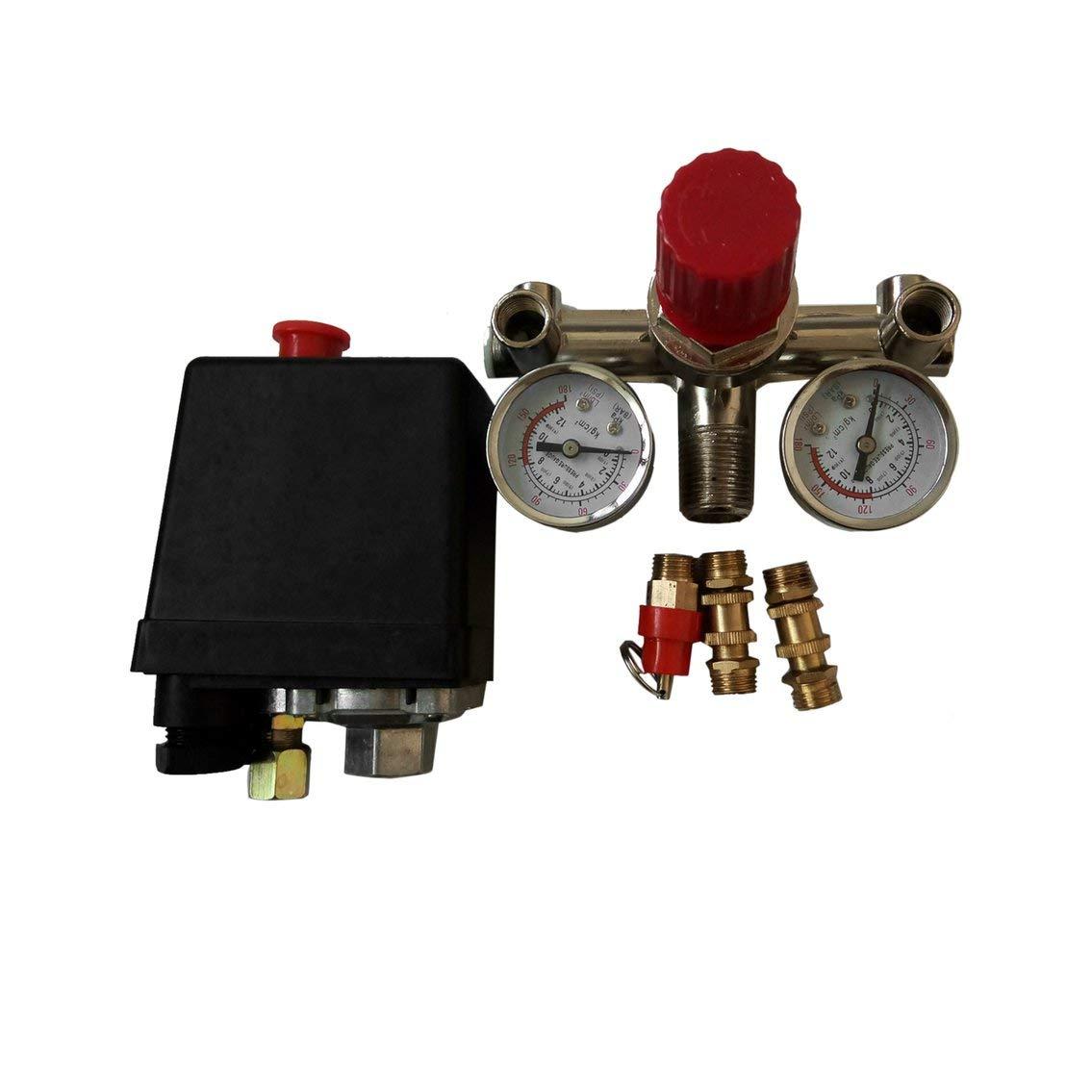 Mazur 90-120PSI Compresor de aire ajustable Interruptor de presión Válvula de control con 2 medidores de presión Juego de control de válvula 002 (negro y ...
