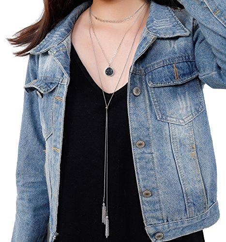 VUJANTIRY Layer Star Choker Necklace Druzy Drop Pendant Necklace Long Tassel Necklace Adjustable (Silver)