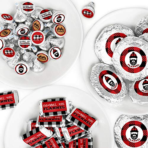 Lumberjack - Channel The Flannel - Mini Candy Bar Wrappers, Round Candy Stickers and Circle Stickers - Buffalo Plaid Party Candy Favor Sticker Kit - 304 Pieces