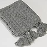 Best Home Fashion Knitted Tassel Throw – 50″ W x 60″ L – Grey For Sale