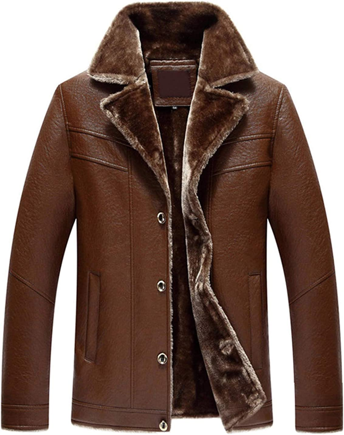 Jenkoon Mens Notched Lapel Leather Jacket Winter Warm Thick Fur Lined Coat Outwear