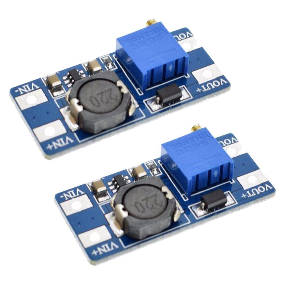 Icstation MT3608 DC Voltage Regulator Step Up Boost Converter Power Supply Module 2V-24V to 5V-28V 2A (Pack of 2)