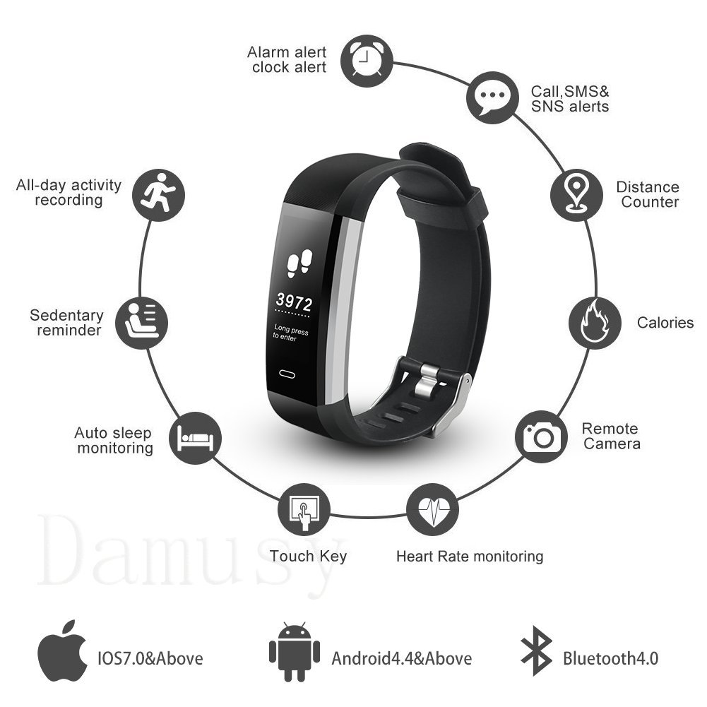 Damusy Fitness Tracker, Bluetooth Watch Activity Tracker Smart Band with Heart Rate Monitor,Waterproof Bracelet Pedometer Wristband with Calorie Counter, Call SMS Remind for Android and iOS