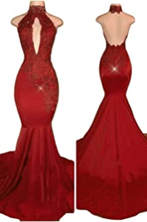 Katharina Shop Womens Sexy Halter Mermaid Evening Prom Dresses 2018 Long with Lace Appliques 2018 KS123