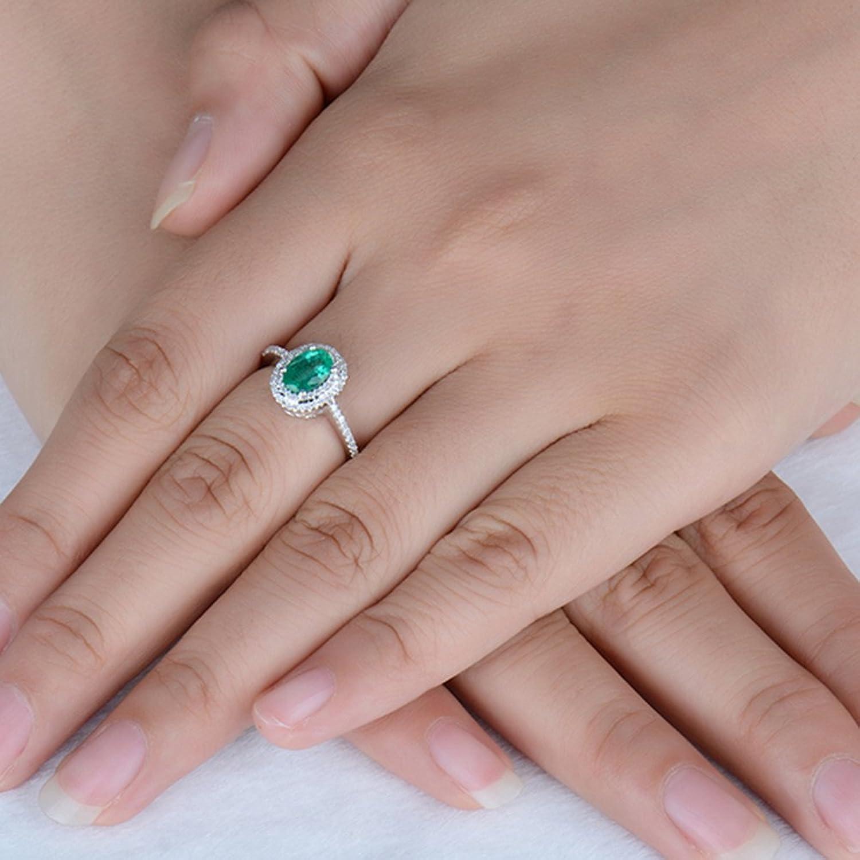 Amazon.com: Women\'s Solid Gold White Columbia Emerald Pave Diamond ...