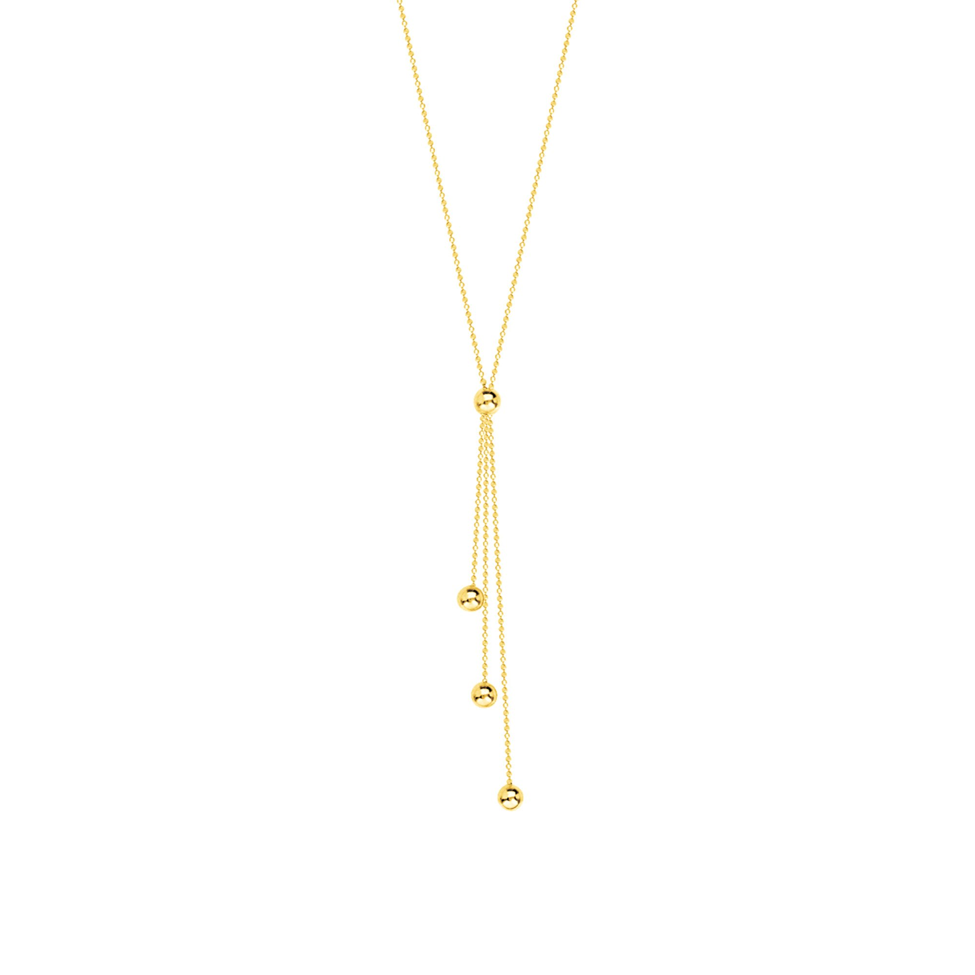 GOLD NECKLACE, 14KT GOLD 3 STRAND ''Y'' DROP NECKLACE