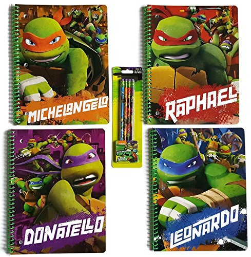 Teenage Mutant Ninja Turtles Back to School Bundle of Five Items: Four TMNT One Subject Wide Ruled Notebooks & One Pack of 4 Pencils