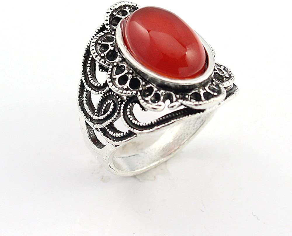 BEST QUALITY CARNELLIAN FASHION JEWELRY .925 SILVER PLATED RING 11 S22705