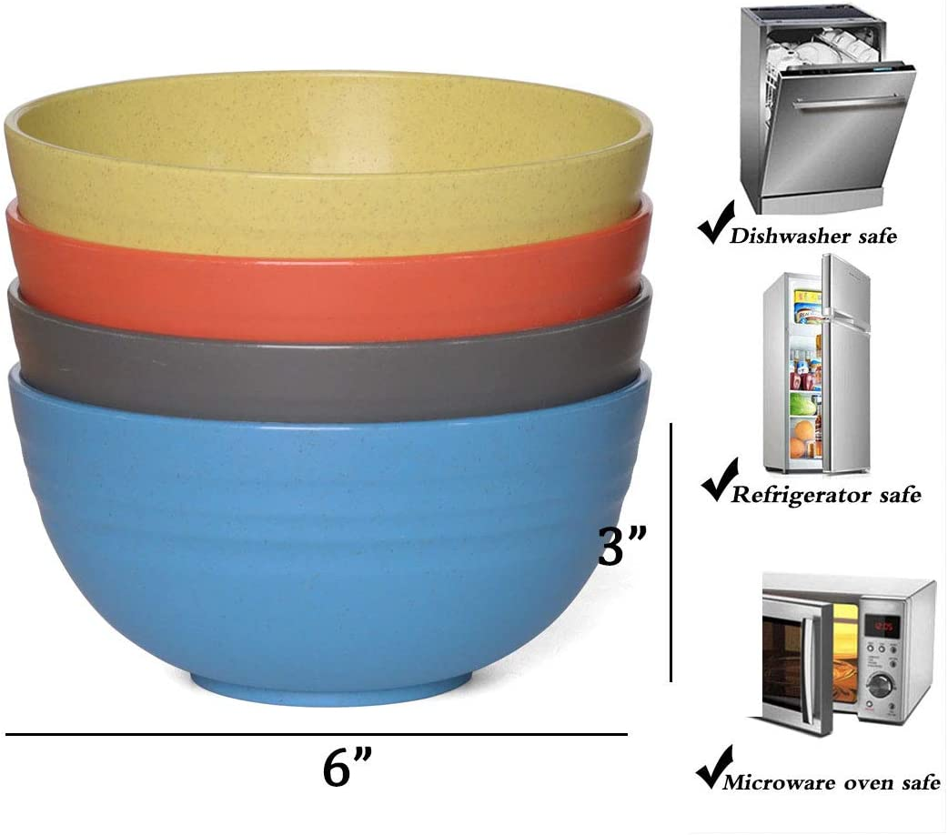   NAWOVAO Lightweight Cereal Bowls - 24 OZ Unbreakable Wheat Straw Bowl Sets 4 - Dishwasher & Microwave Safe - Non-toxic Degradable Bowls for Kids, Children, Rice, Soup: Cereal Bowls