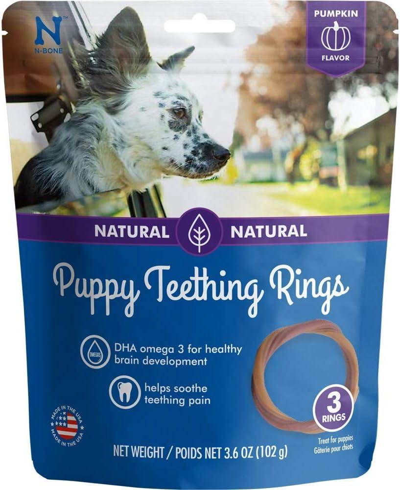 N-Bone Puppy Teething Ring Pumpkin Flavor, 3.6 Oz, 3 Rings