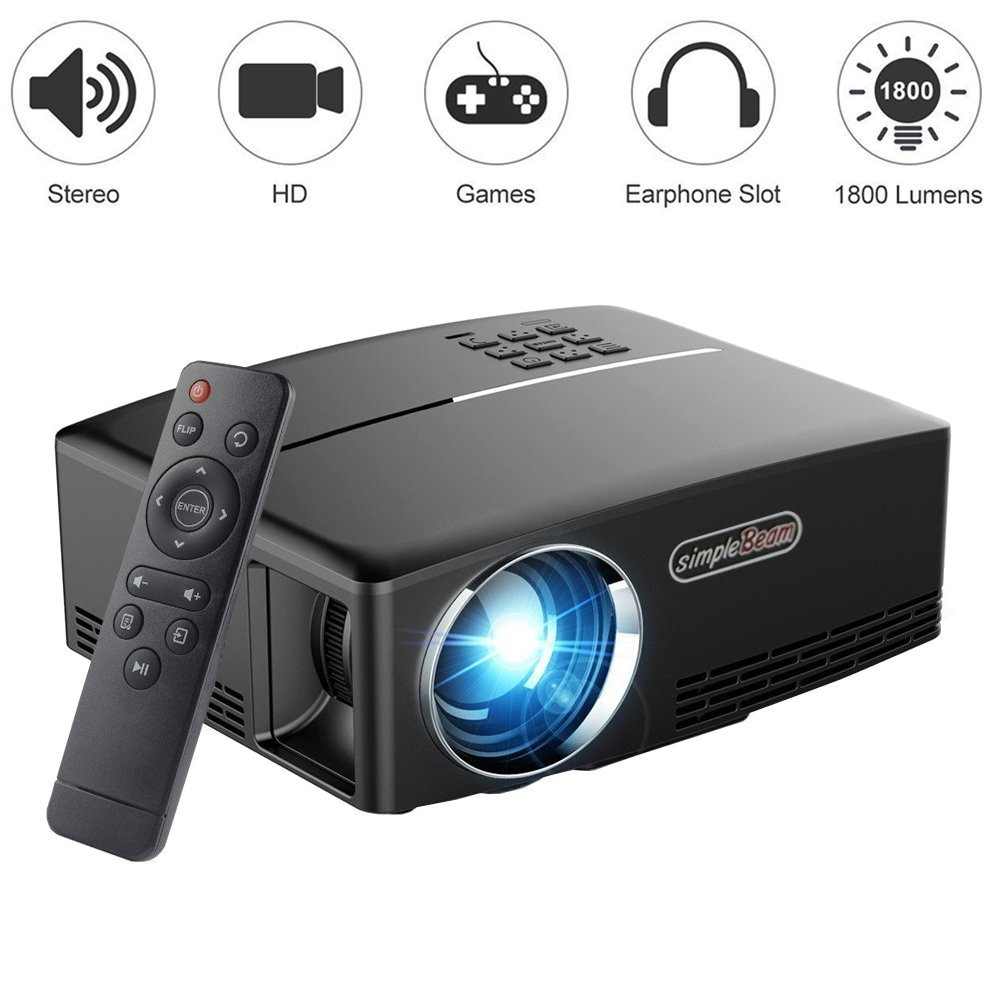 Projector 1800 Lumens 1080P, VPRAWLS LED Mini Movie Projector Support Full HD Portable Multimedia Projector for Home Theater Cinema Movie Entertainment