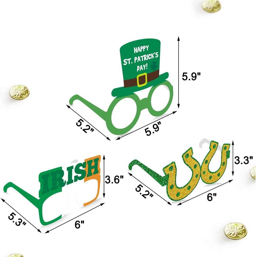 Autoadhesivo Barba 6x Pegatina de bigotes falsos y 9x Gafas de sol St Patricks Day Accesorios Party Favor Set D/ía del festival irland/és Vasos de papel Tr/ébol Sombrero de duende Forma Gafas