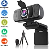 HD Webcam with Microphone,1080P HD Webcam with Privacy Cover and Tripod, Auto Focus Plug and Play USB Computer Camera for Laptop/PC/Mac, Online Studying,Video Calling and Conferencing