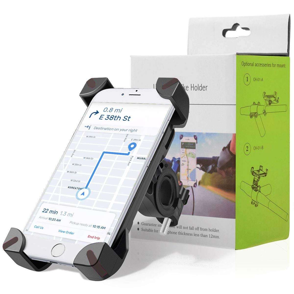 for iPhone Galaxy S3//S4//S5//S6//S7//S8 Samsung VISLAN Bike Mount Phone Holder 360 Rotatable Adjustable Cell Phone Cradle with Extendable Silicone Strap mount Nexus,HTC,LG /& GPS Devices Huawei